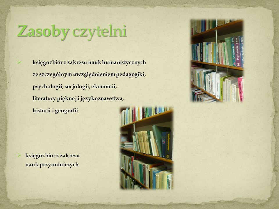 Zasoby czytelni księgozbiór z zakresu nauk humanistycznych