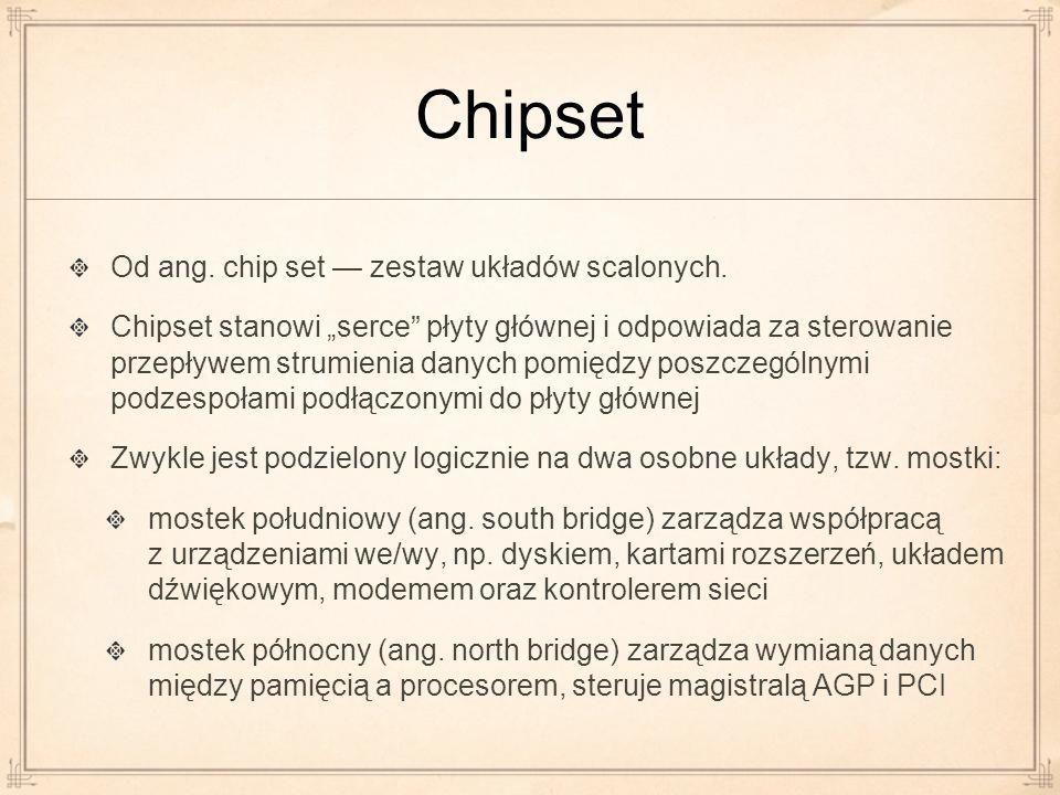 Chipset Od ang. chip set — zestaw układów scalonych.