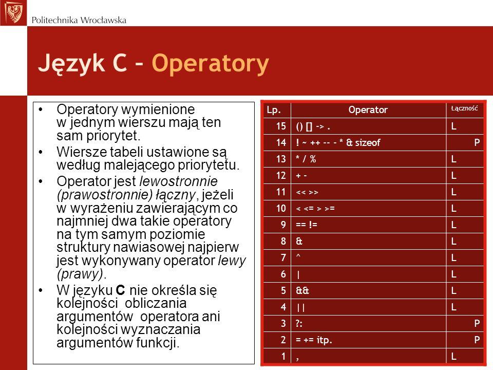 Język C – Operatory Operatory wymienione w jednym wierszu mają ten sam priorytet. Wiersze tabeli ustawione są według malejącego priorytetu.