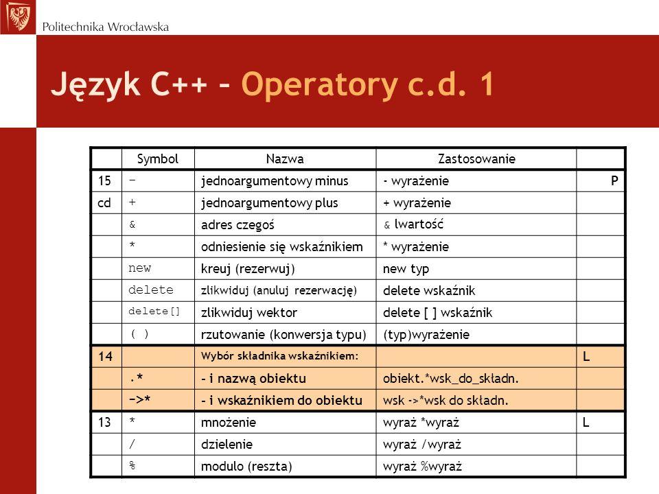 Język C++ – Operatory c.d. 1