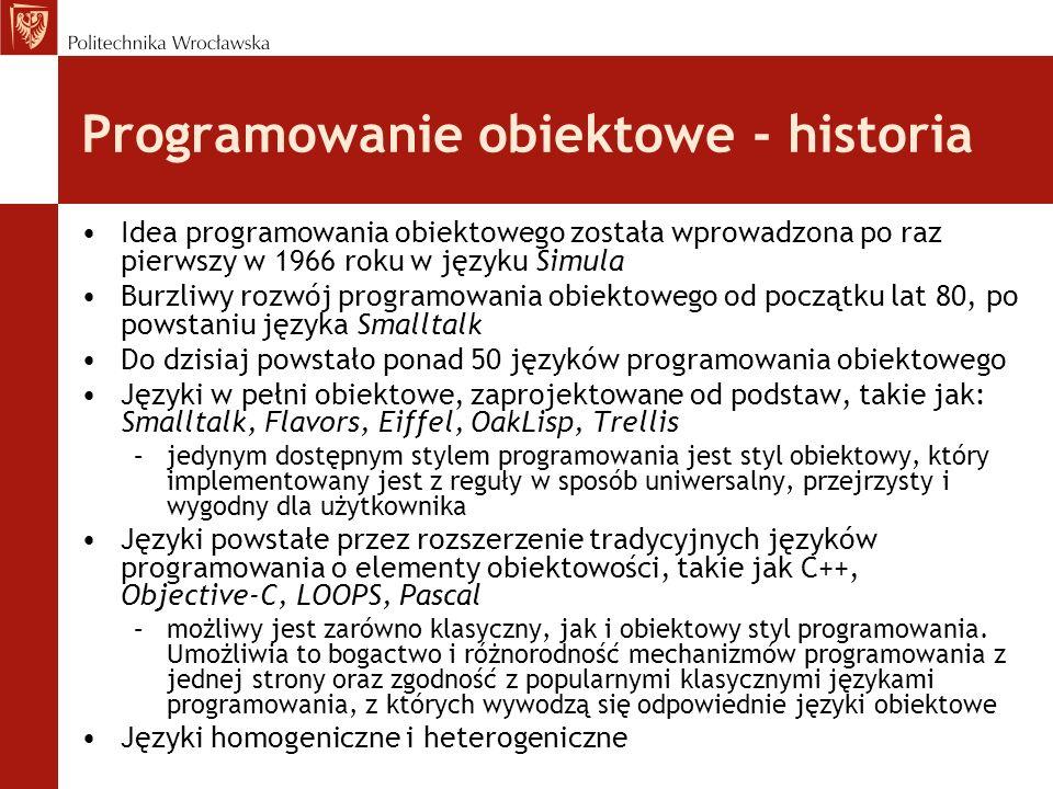 Programowanie obiektowe - historia