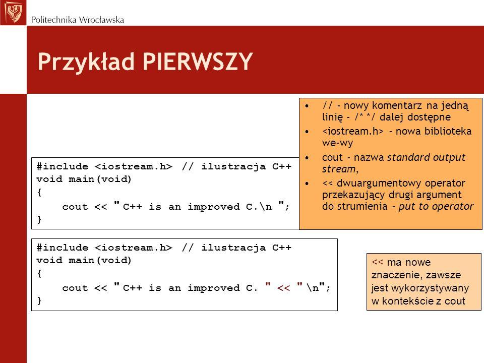 Przykład PIERWSZY // - nowy komentarz na jedną linię - /* */ dalej dostępne. <iostream.h> - nowa biblioteka we-wy.