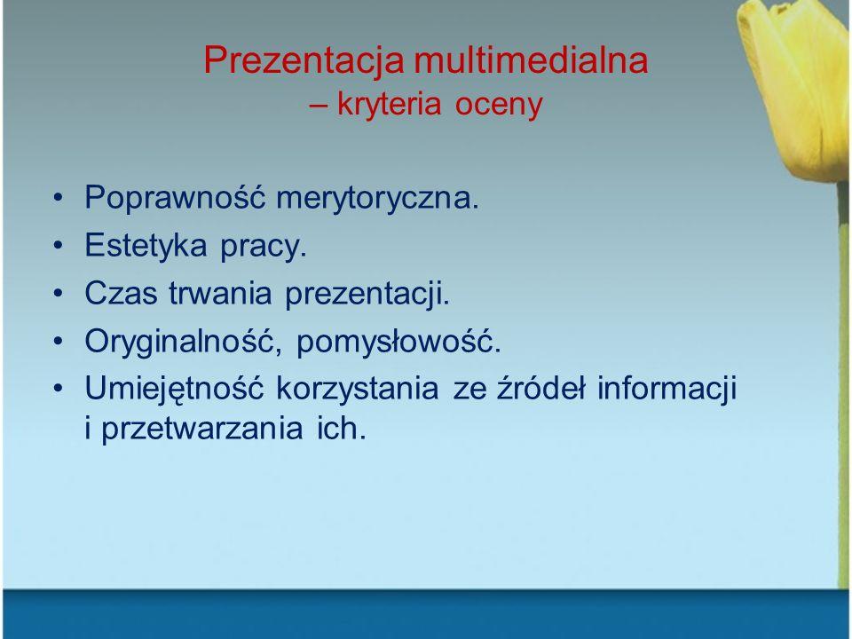 Prezentacja multimedialna – kryteria oceny