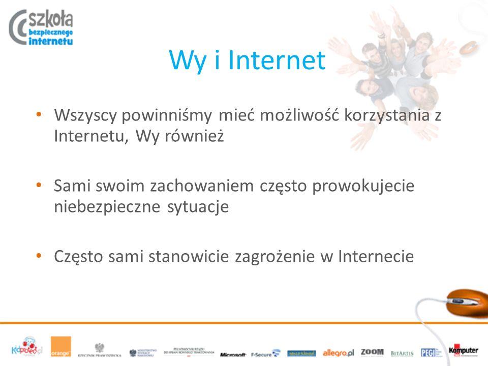 Wy i Internet Wszyscy powinniśmy mieć możliwość korzystania z Internetu, Wy również.