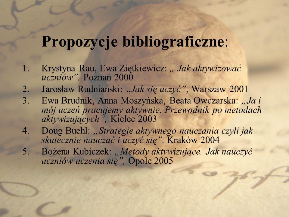 """Krystyna Rau, Ewa Ziętkiewicz: """" Jak aktywizować uczniów , Poznań 2000"""