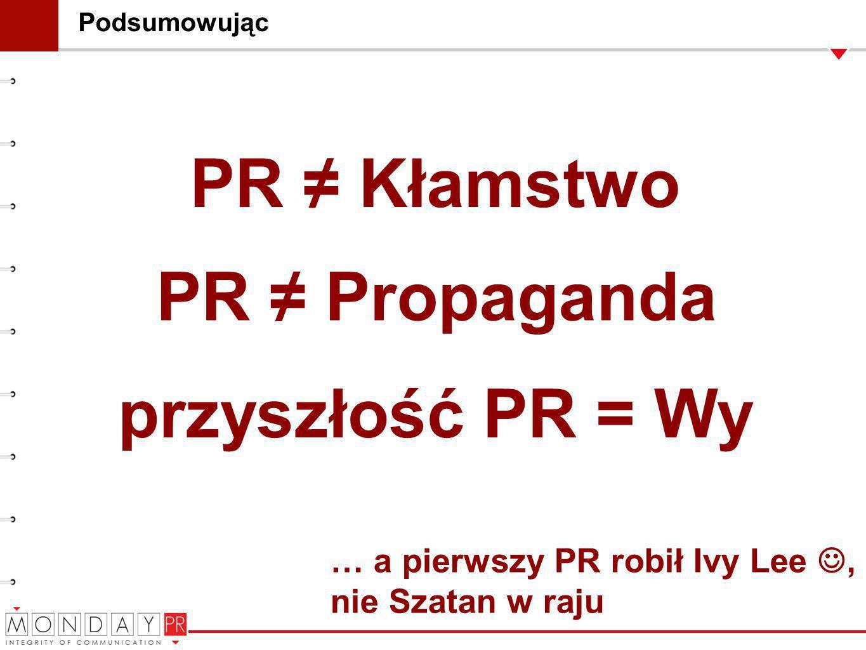 PR ≠ Kłamstwo PR ≠ Propaganda przyszłość PR = Wy