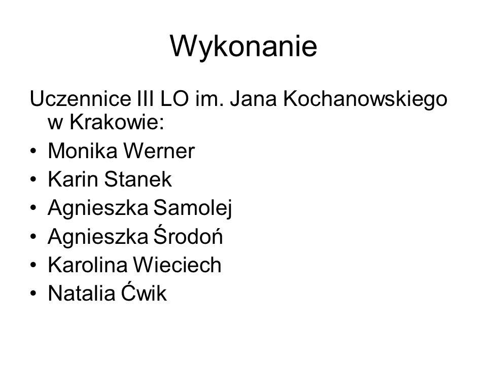 Wykonanie Uczennice III LO im. Jana Kochanowskiego w Krakowie: