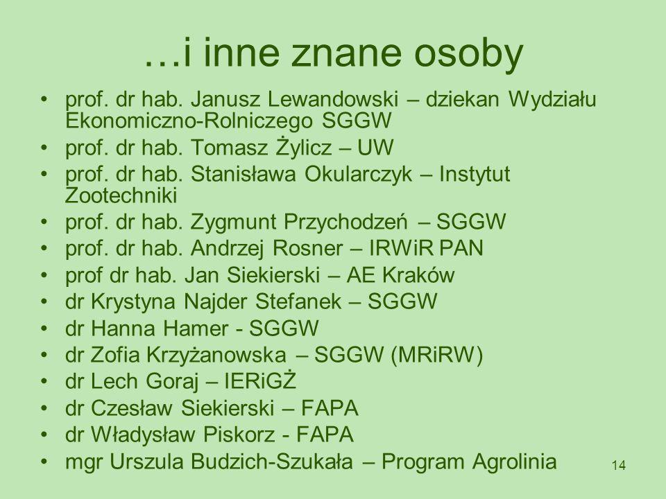 …i inne znane osoby prof. dr hab. Janusz Lewandowski – dziekan Wydziału Ekonomiczno-Rolniczego SGGW.