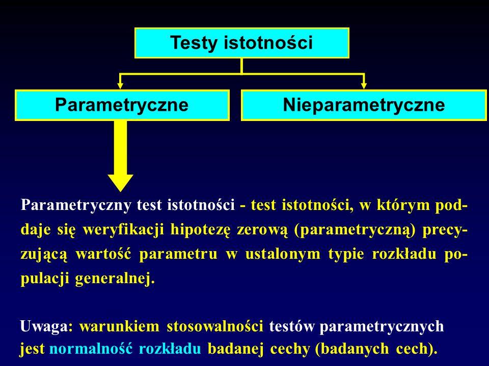 Testy istotności Parametryczne Nieparametryczne