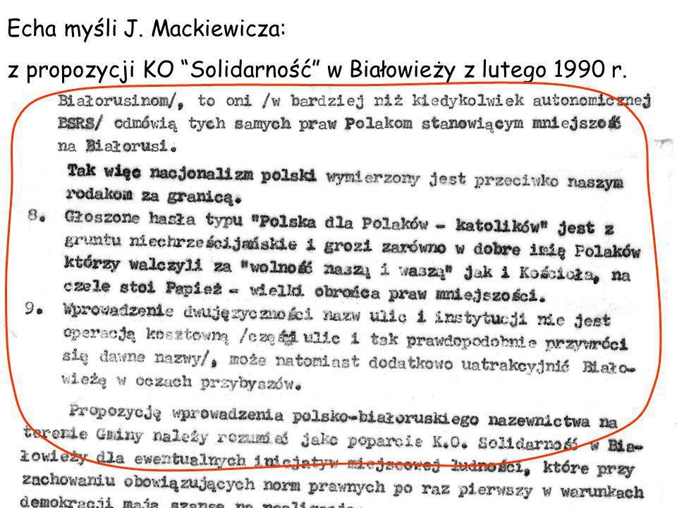 Echa myśli J. Mackiewicza: