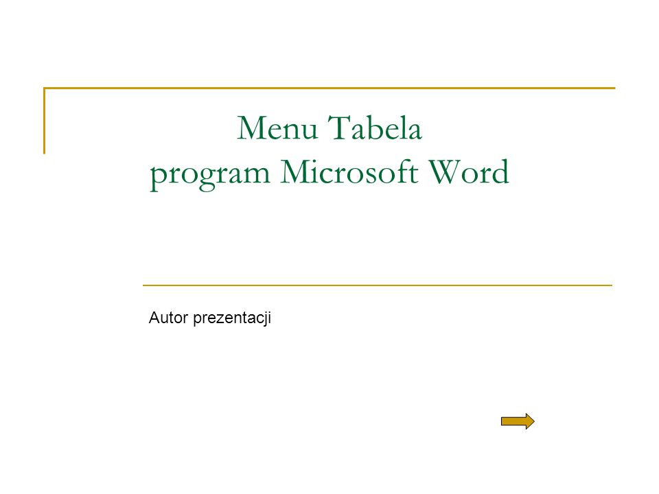 Menu Tabela program Microsoft Word