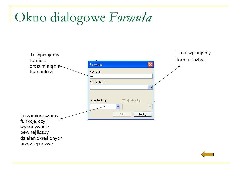 Okno dialogowe Formuła
