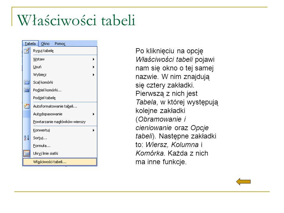 Właściwości tabeli