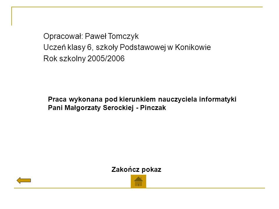 Opracował: Paweł Tomczyk Uczeń klasy 6, szkoły Podstawowej w Konikowie