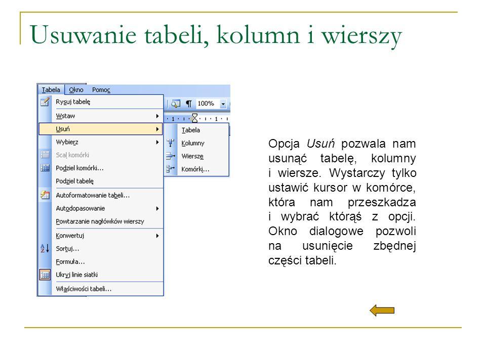 Usuwanie tabeli, kolumn i wierszy