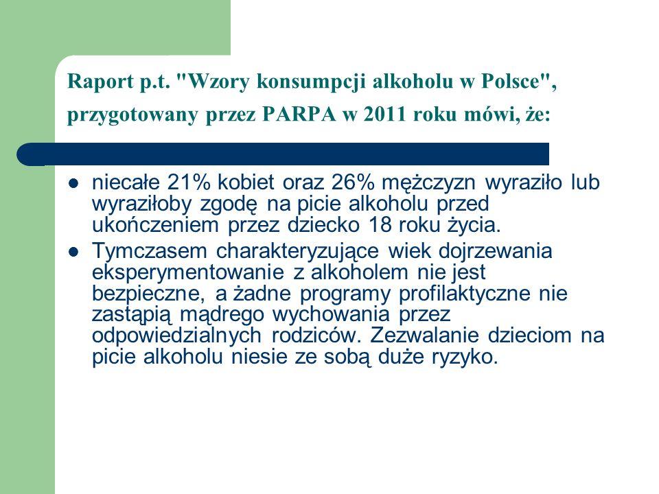 Raport p.t. Wzory konsumpcji alkoholu w Polsce , przygotowany przez PARPA w 2011 roku mówi, że: