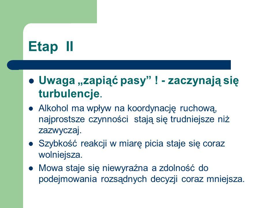 """Etap II Uwaga """"zapiąć pasy ! - zaczynają się turbulencje."""