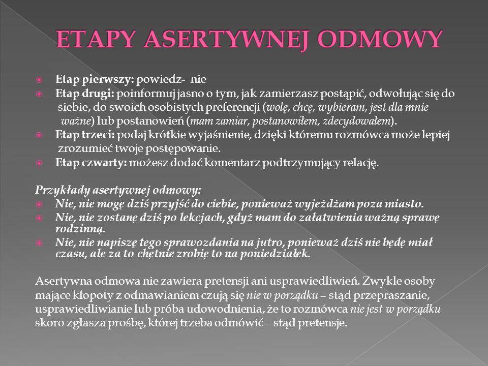 ETAPY ASERTYWNEJ ODMOWY