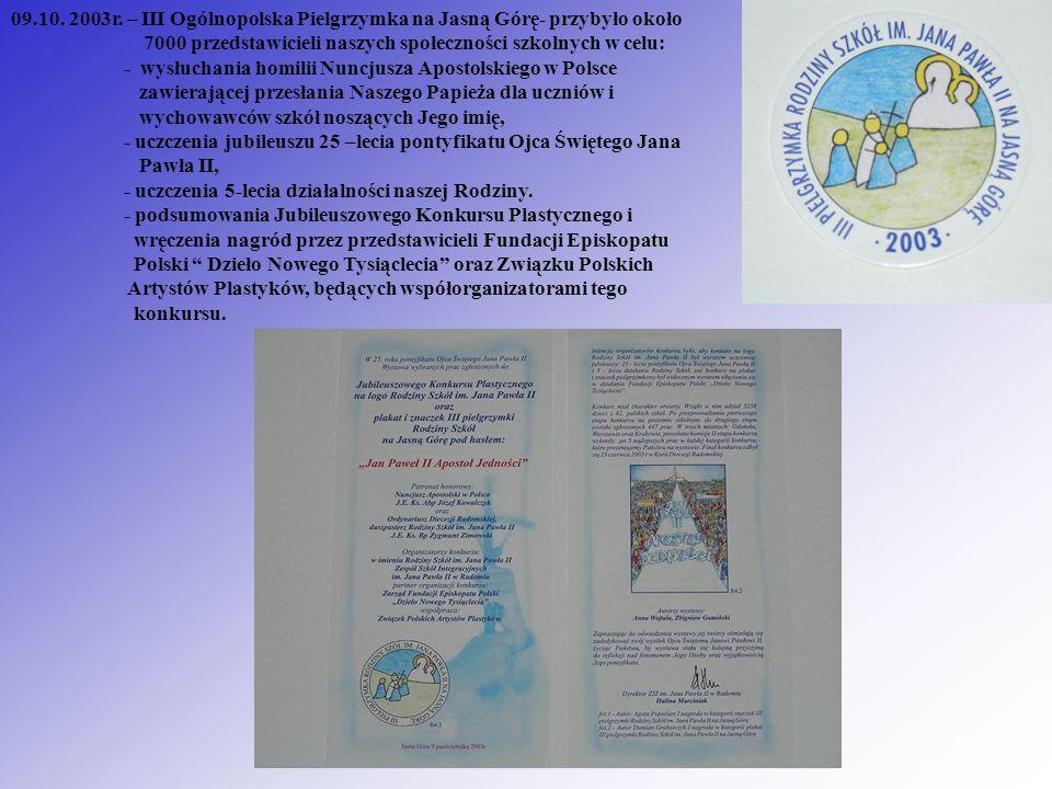 09.10. 2003r. – III Ogólnopolska Pielgrzymka na Jasną Górę- przybyło około