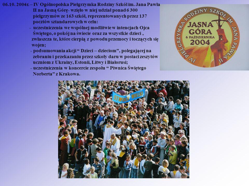 06. 10. 2004r. – IV Ogólnopolska Pielgrzymka Rodziny Szkól im