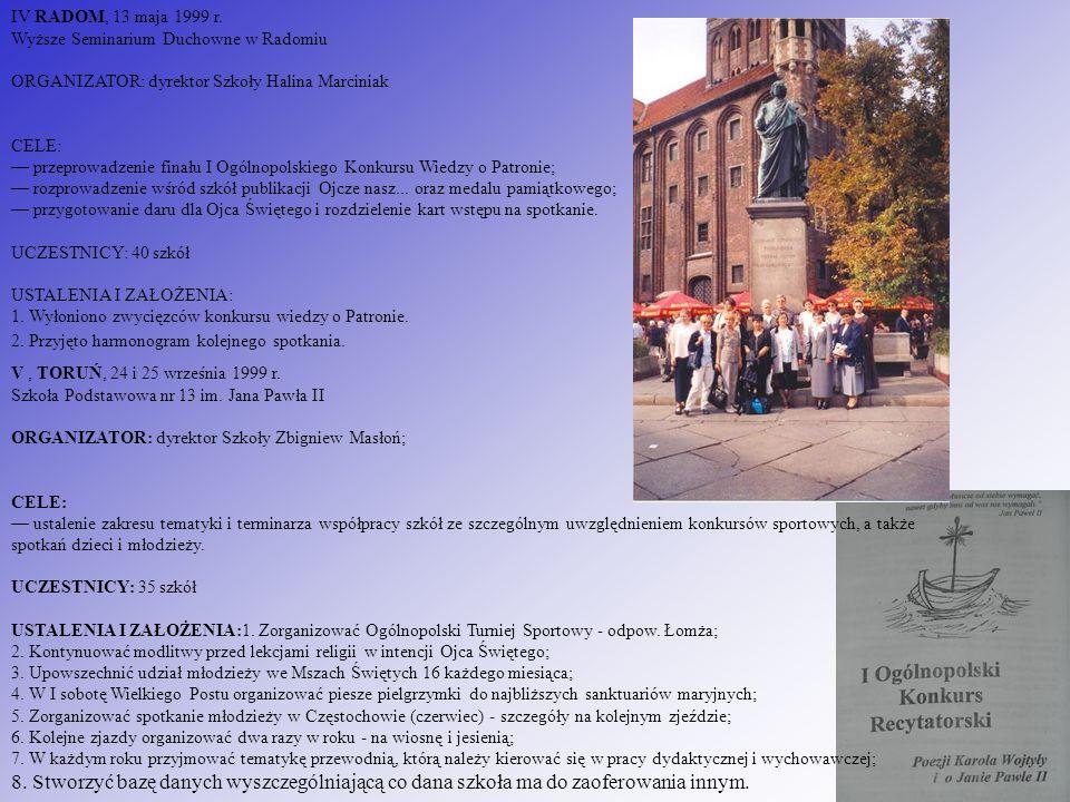IV RADOM, 13 maja 1999 r. Wyższe Seminarium Duchowne w Radomiu ORGANIZATOR: dyrektor Szkoły Halina Marciniak