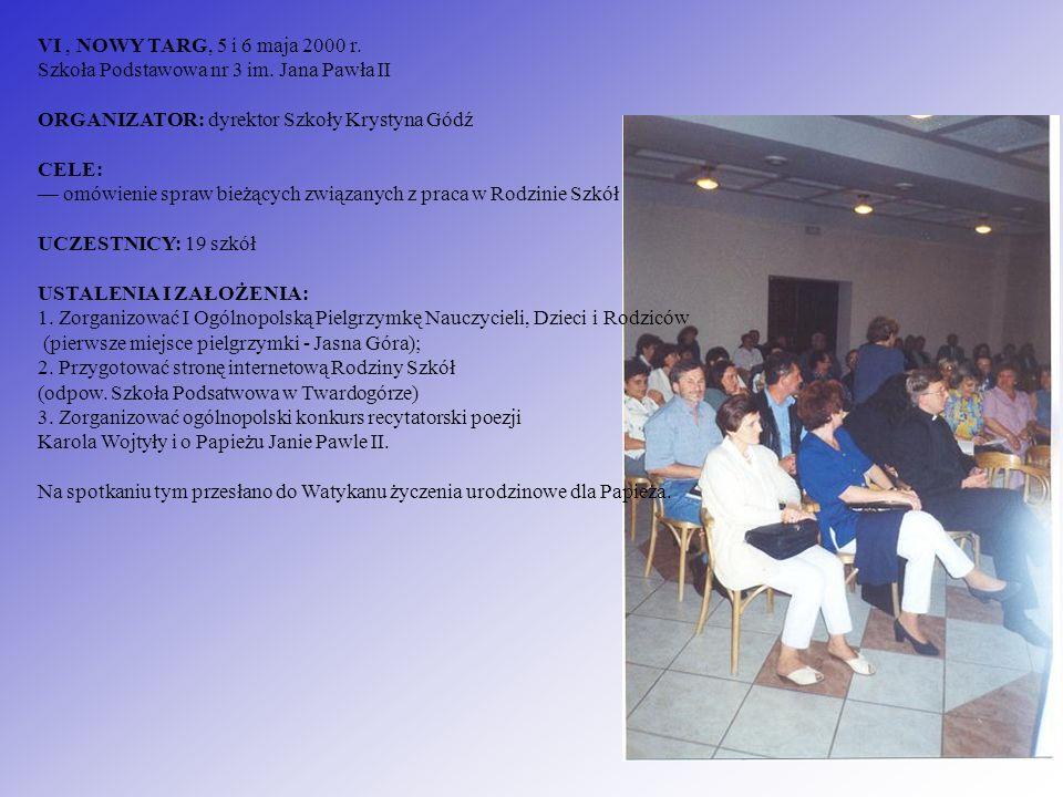 VI , NOWY TARG, 5 i 6 maja 2000 r. Szkoła Podstawowa nr 3 im
