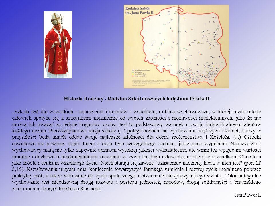 Historia Rodziny - Rodzina Szkół noszących imię Jana Pawła II