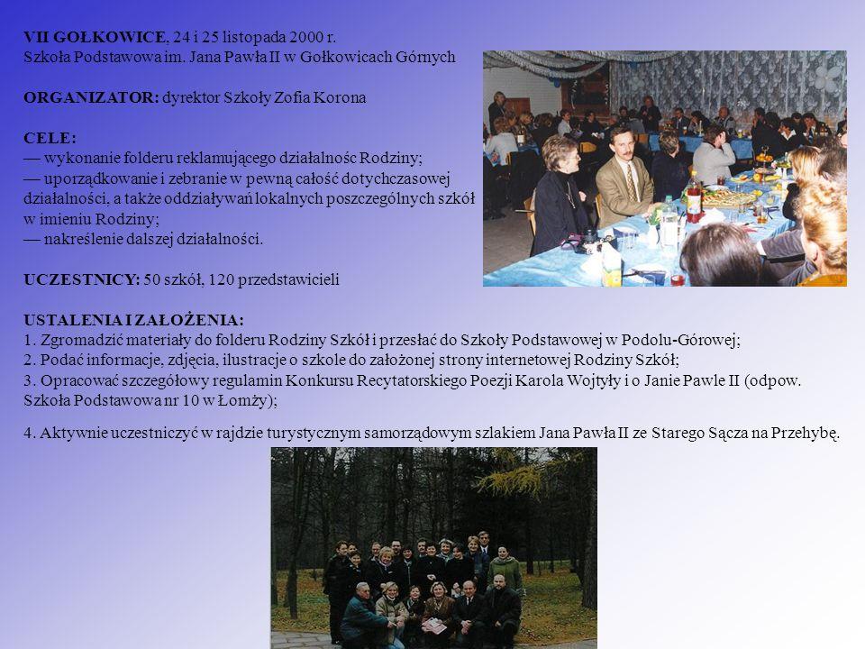 VII GOŁKOWICE, 24 i 25 listopada 2000 r. Szkoła Podstawowa im