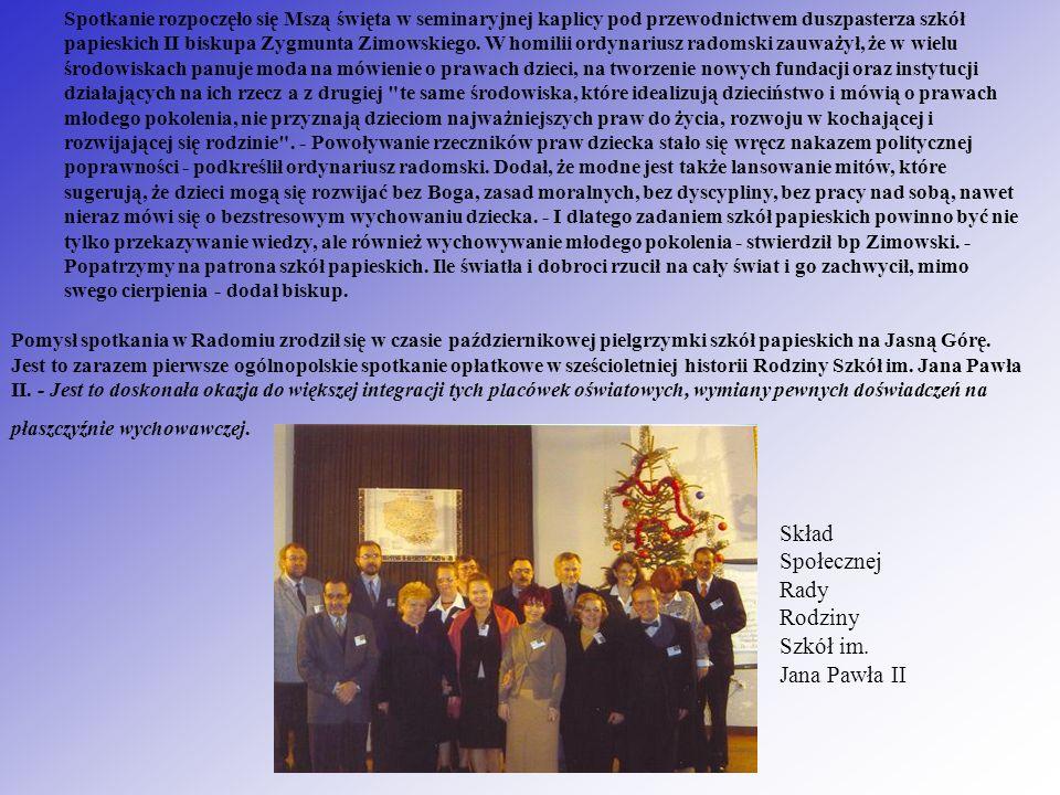 Skład Społecznej Rady Rodziny Szkół im. Jana Pawła II