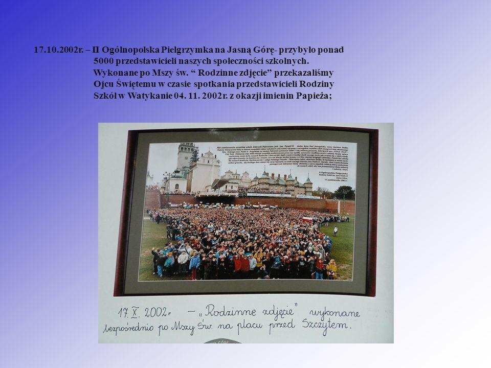 17.10.2002r. – II Ogólnopolska Pielgrzymka na Jasną Górę- przybyło ponad