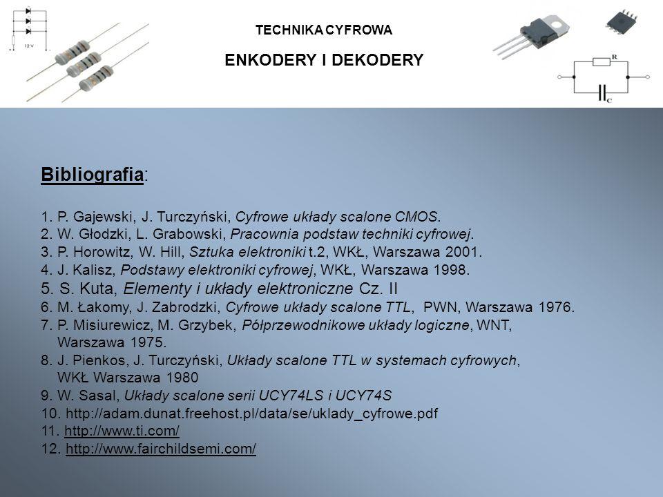 Bibliografia: ENKODERY I DEKODERY