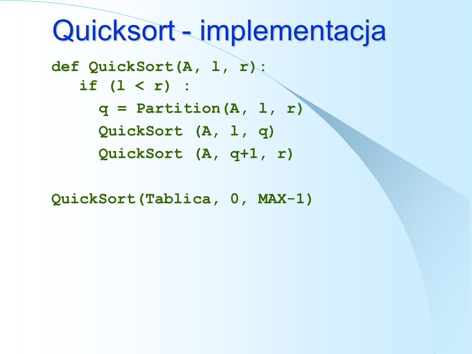 Quicksort - implementacja