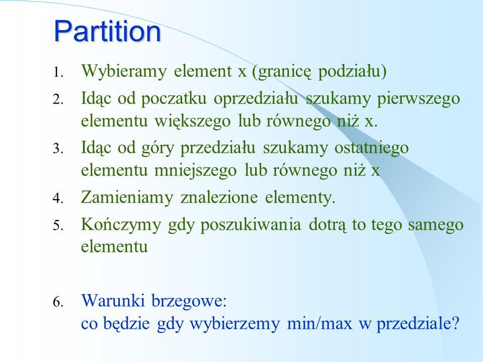 Partition Wybieramy element x (granicę podziału)