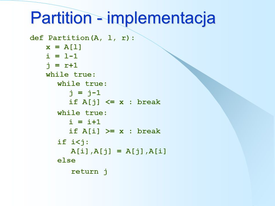 Partition - implementacja