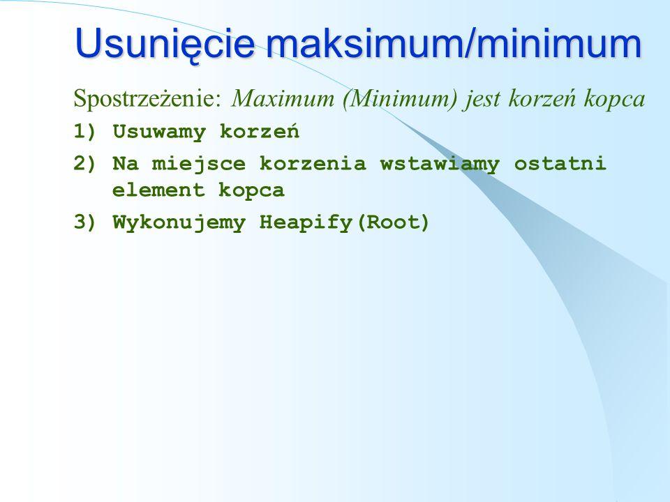 Usunięcie maksimum/minimum