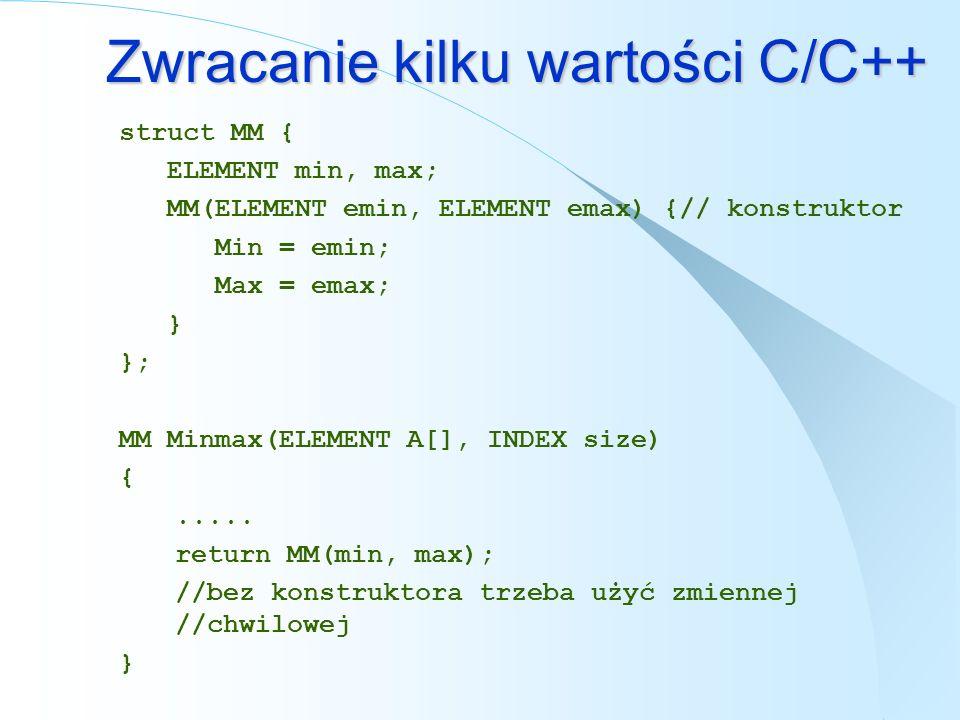 Zwracanie kilku wartości C/C++