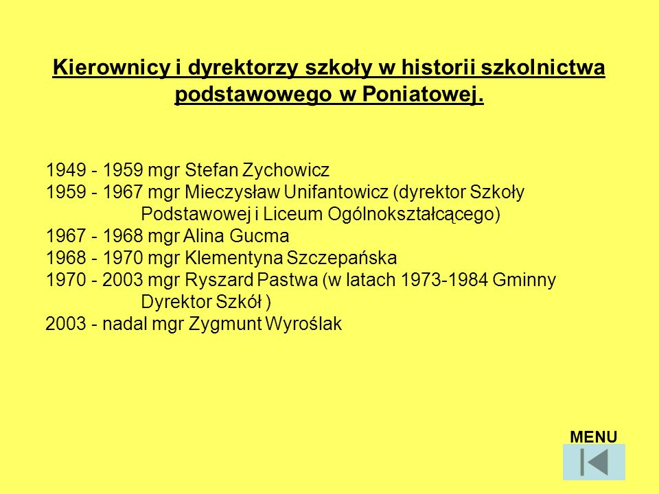 Kierownicy i dyrektorzy szkoły w historii szkolnictwa podstawowego w Poniatowej.
