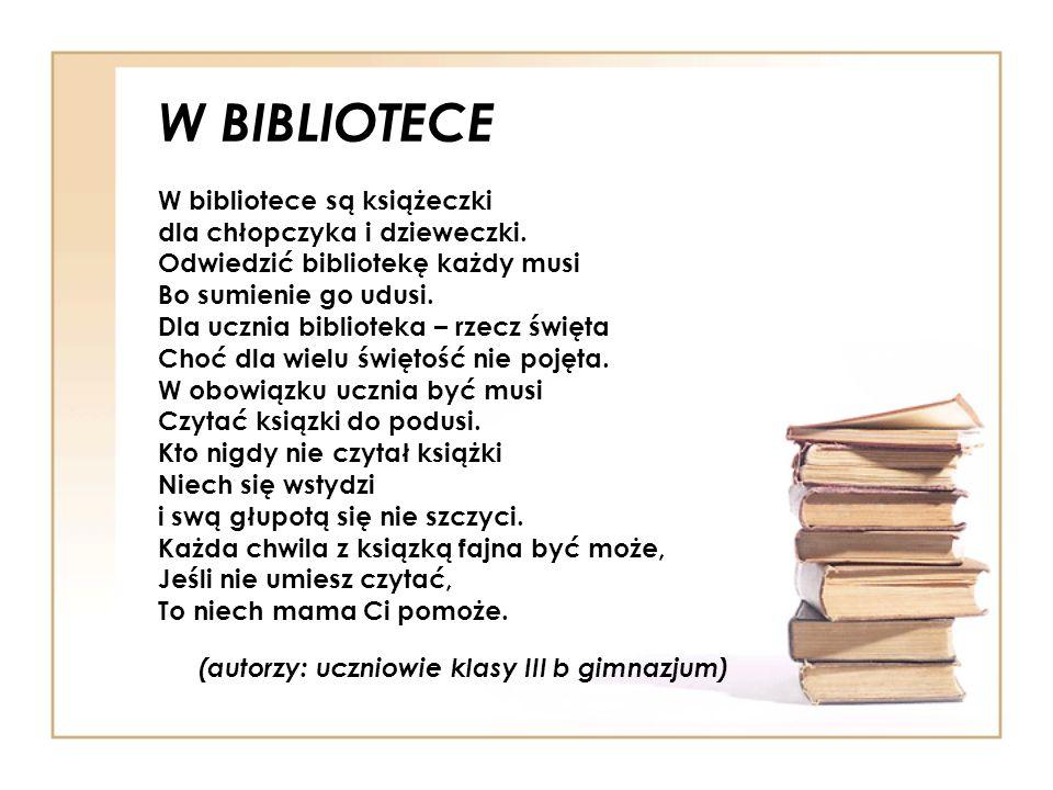 W BIBLIOTECE W bibliotece są książeczki dla chłopczyka i dzieweczki.