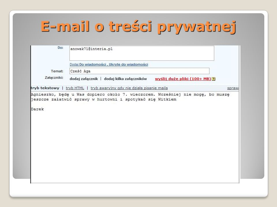 E-mail o treści prywatnej