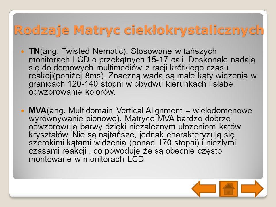 Rodzaje Matryc ciekłokrystalicznych