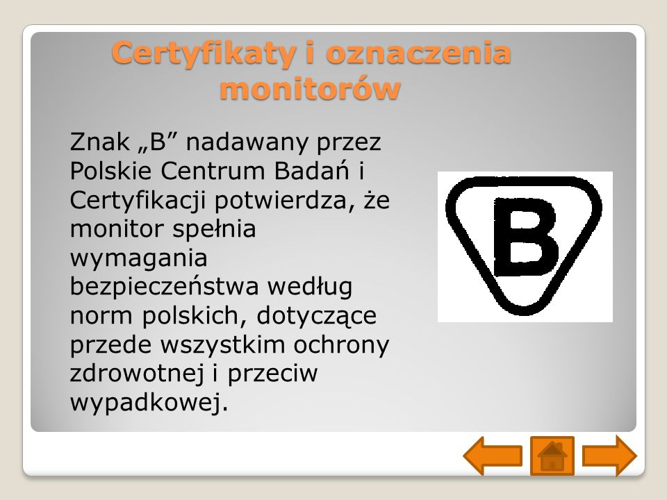 Certyfikaty i oznaczenia monitorów