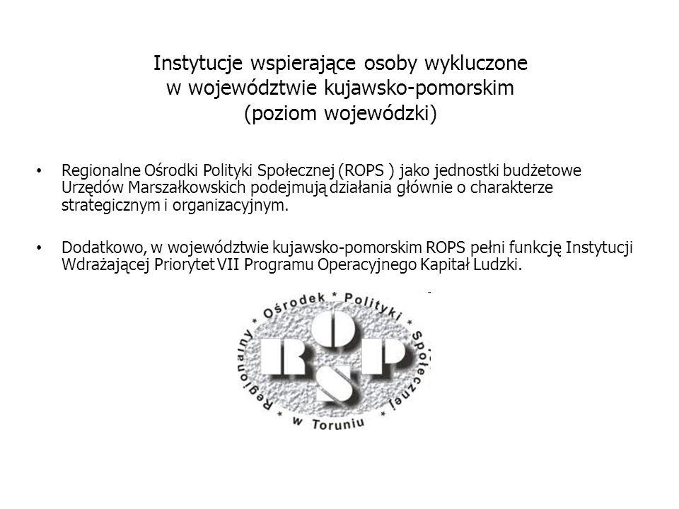 Instytucje wspierające osoby wykluczone w województwie kujawsko-pomorskim (poziom wojewódzki)