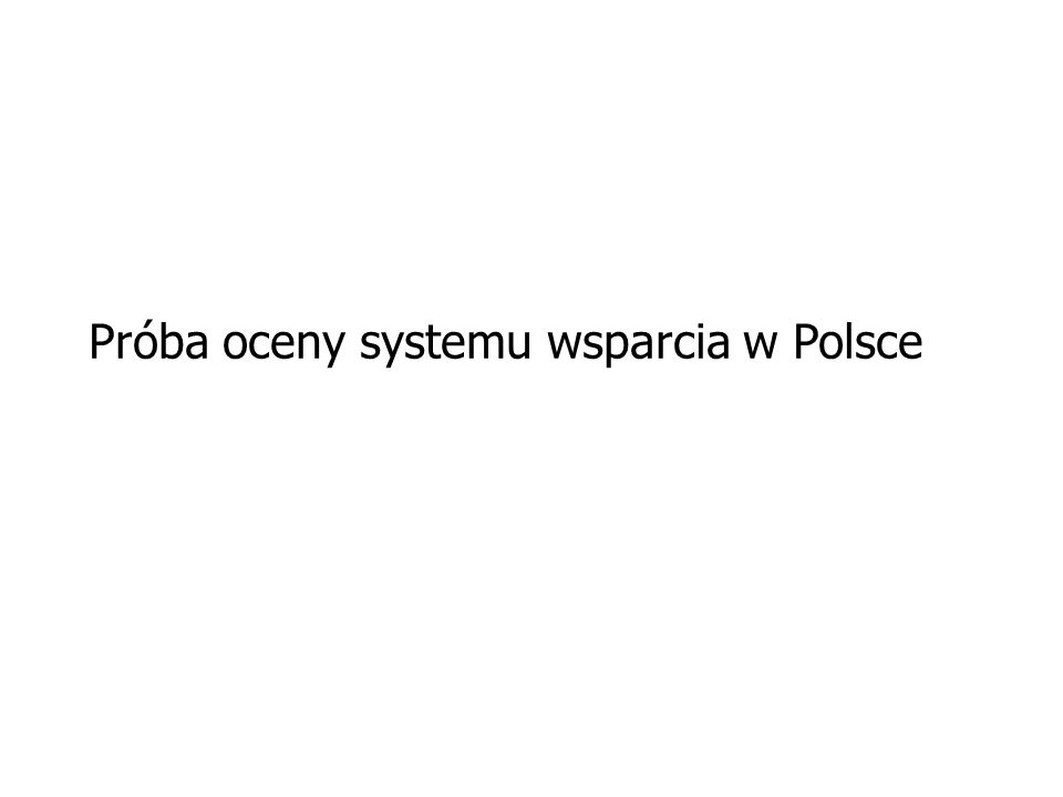 Próba oceny systemu wsparcia w Polsce