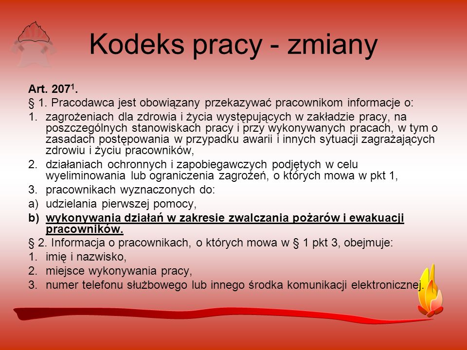 Kodeks pracy - zmiany Art. 2071.
