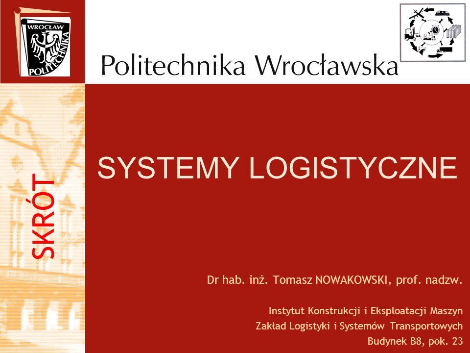 SYSTEMY LOGISTYCZNE SKRÓT Dr hab. inż. Tomasz NOWAKOWSKI, prof. nadzw.