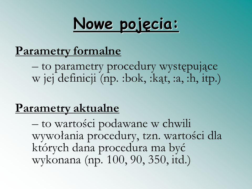 Nowe pojęcia: Parametry formalne