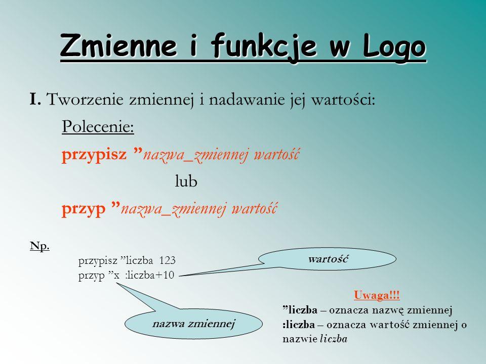 Zmienne i funkcje w Logo