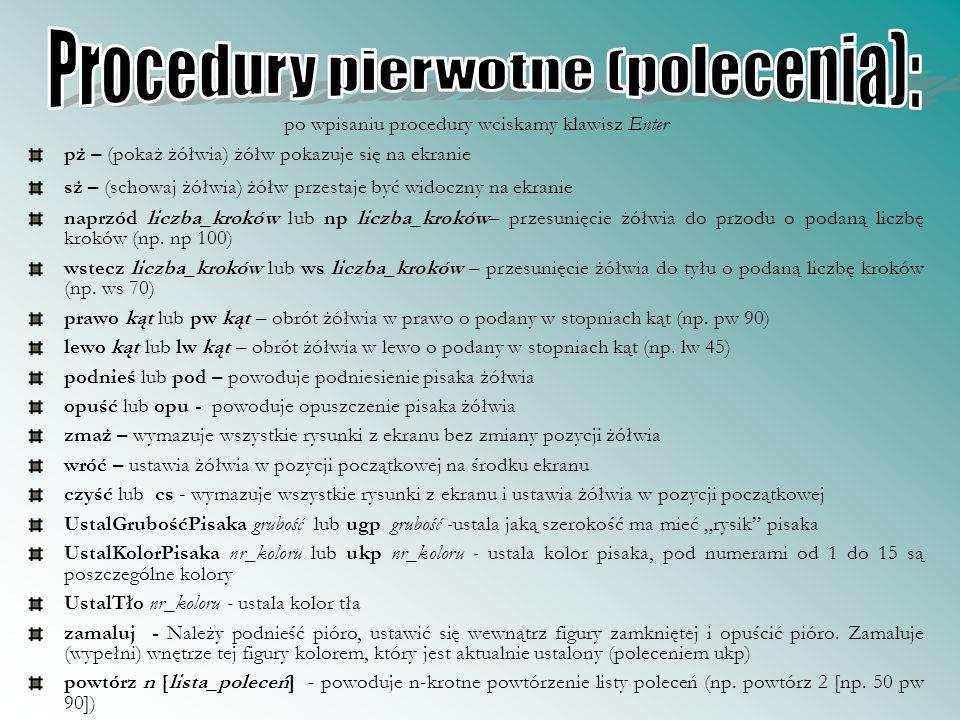 Procedury pierwotne (polecenia):