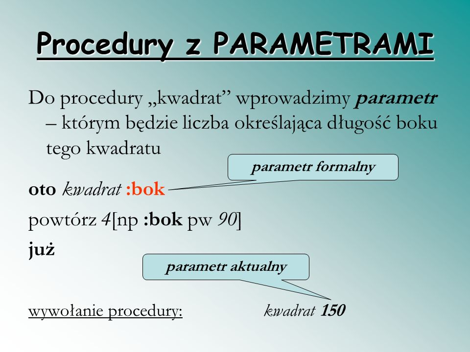 Procedury z PARAMETRAMI