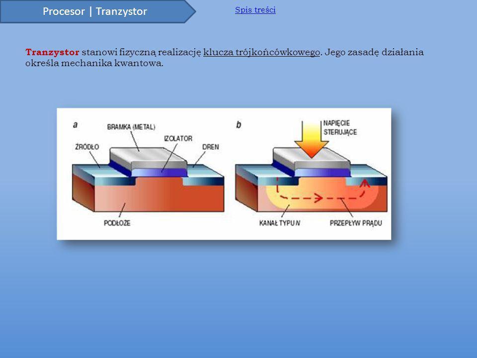 Procesor | Tranzystor Spis treści. Tranzystor stanowi fizyczną realizację klucza trójkońcówkowego.